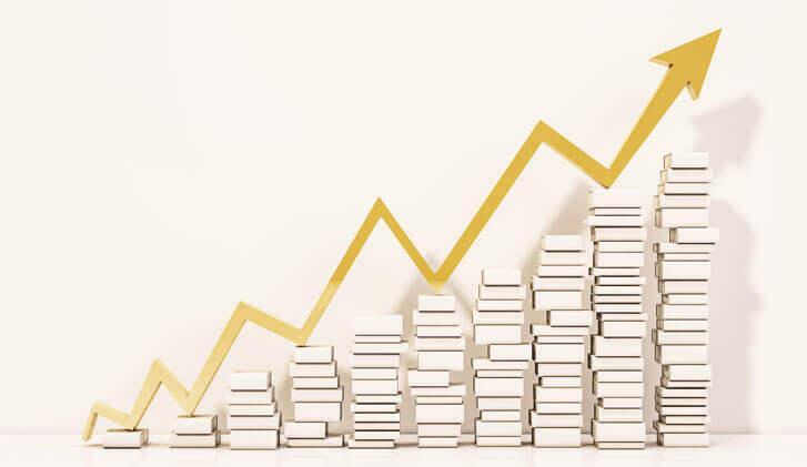 Rosnący wykres. Wzrasta razem z ilością książek