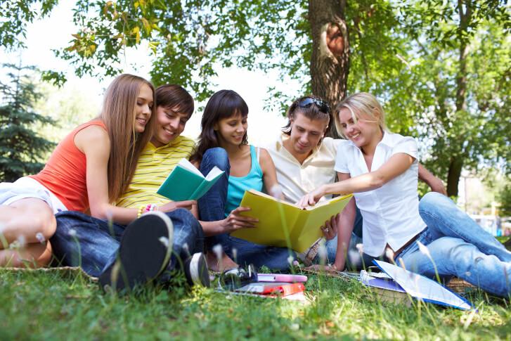 grupa ludzi wspólnie czyta książki na łonie natury, w parku lub w lesie