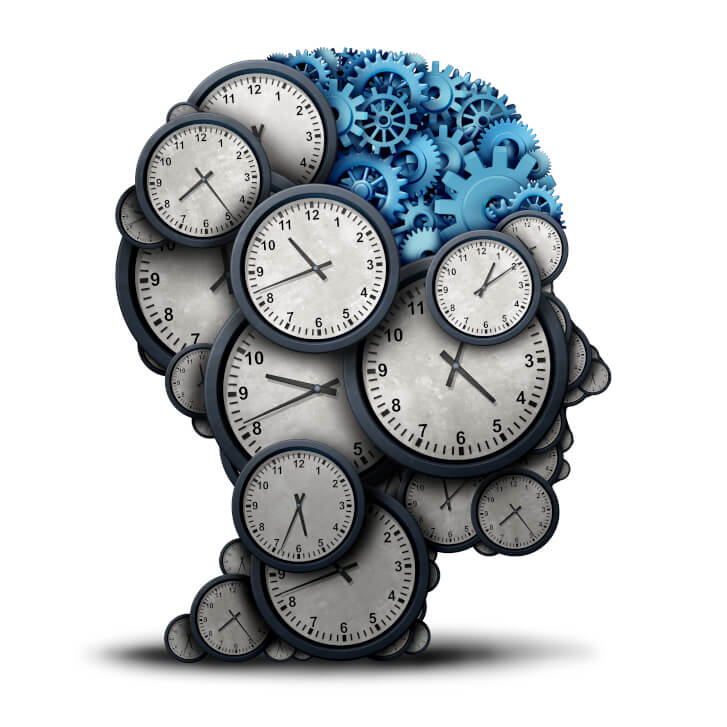 Mechanika Afirmacji. Głowa ludzka ułożona z zegarów i kół zębatych. Umysł, mechanika. Czas.